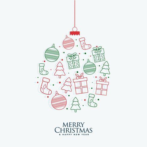 Bola decorativa navideña hecha con elementos de navidad de línea.