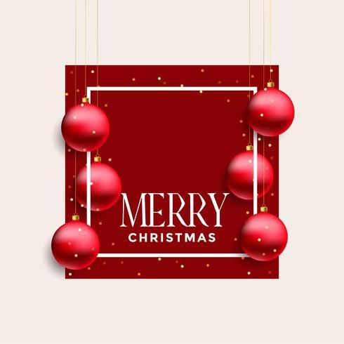marco de feliz navidad con bolas rojas colgantes