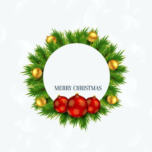 merry christmas frame with balls and xmas tree leaves