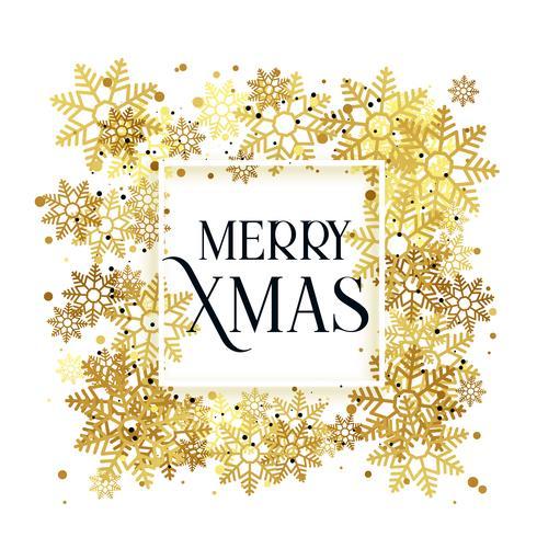design de fundo de Natal de flocos de neve de ouro
