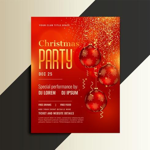 Flyer de cartel de fiesta de Navidad en tema rojo brillante