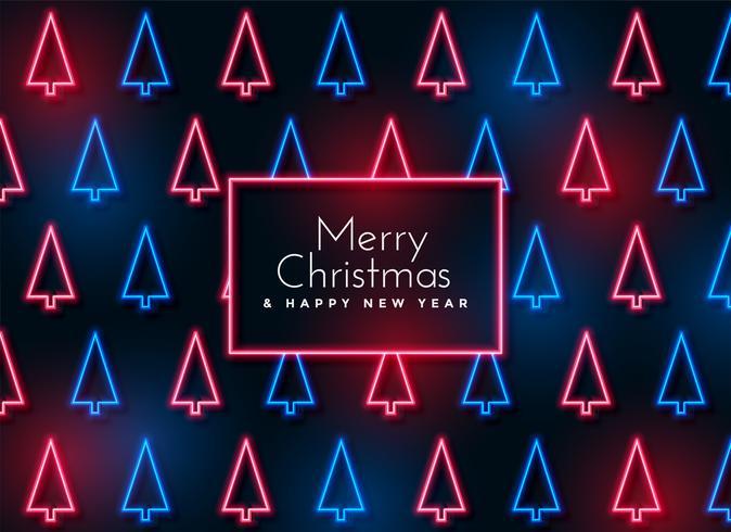 Neon Weihnachtsbaum Muster Hintergrund