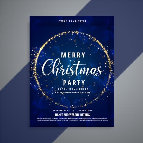 Plantilla de volante de fiesta feliz Navidad azul brilla