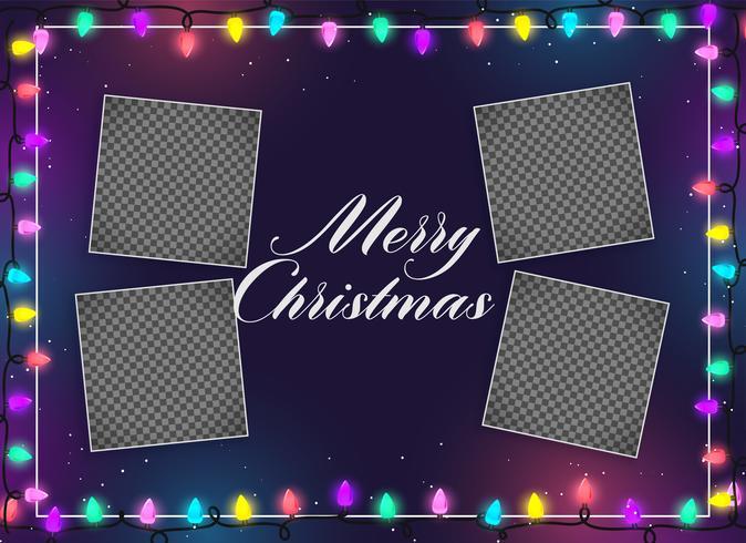 Feliz Navidad luces decoración con espacio de imagen