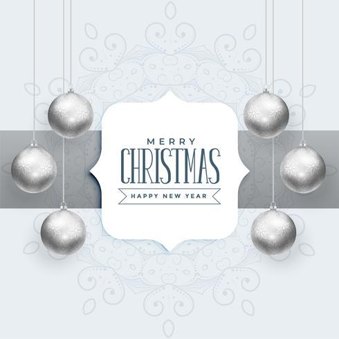 Hermoso fondo navideño con bolas de plata.
