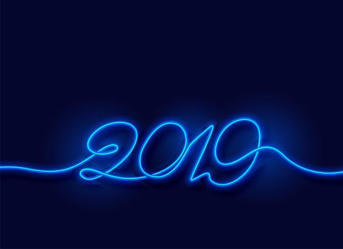 2019 gelukkige nieuwe jaar neon blauwe lichte achtergrond