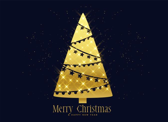 Fondo de decoración de árbol de Navidad de destellos dorados