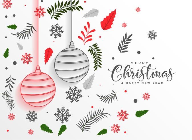 vrolijk kerstfeest mooie bladeren en ballen decoratie achtergrond