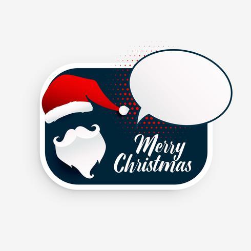 stylish christmas santa claus with speech bubble