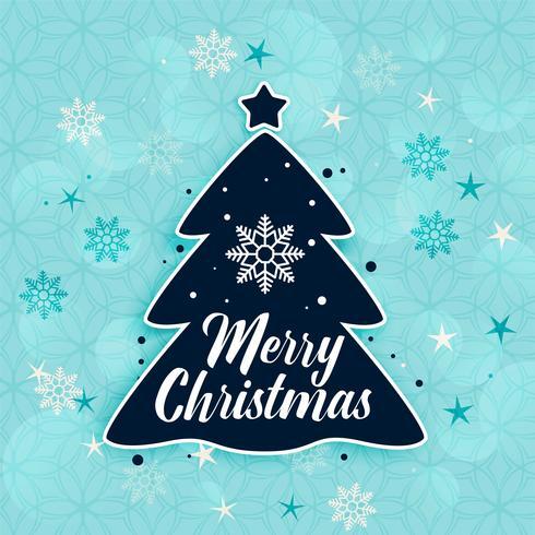 Fondo de feliz árbol de Navidad y copos de nieve con estilo