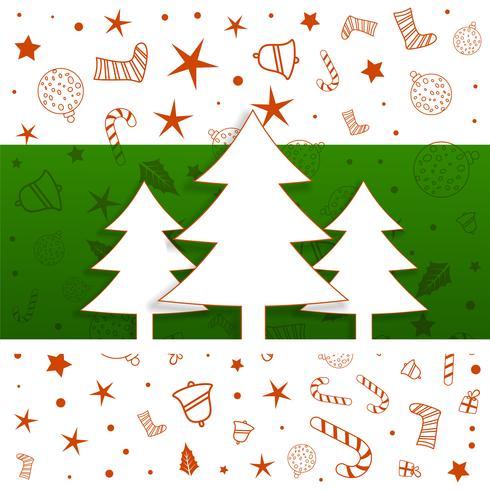 Diseño del árbol de navidad con patrón de elementos decorativos.