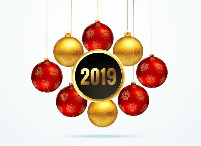 2019 sfondo dorato con decorazione di palle d'attaccatura
