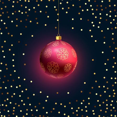 Hermosa bola navideña colgante 3d con brillo dorado