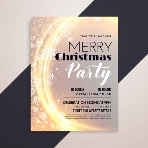 glänzende Frohe Weihnachten Schneeflocken Party Flyer Vorlage