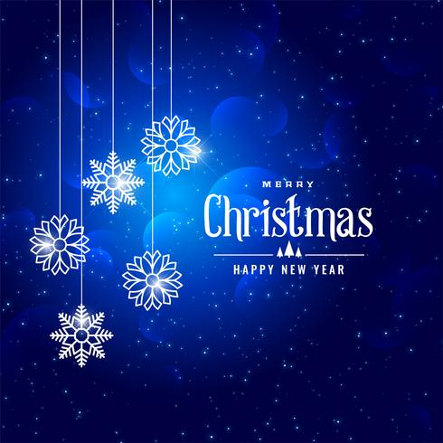 Fondo azul encantador de los copos de nieve del estilo del invierno de la Navidad