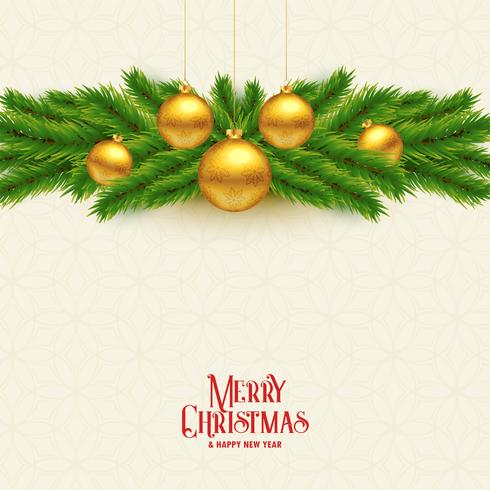 Hojas de árbol de Navidad elegante y fondo de bolas de oro