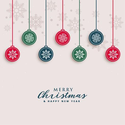 Frohe Weihnachten schönen Gruß mit hängenden Kugeln