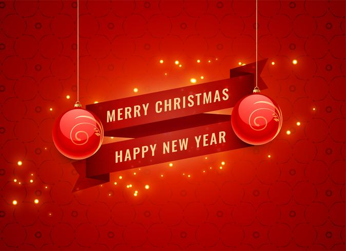 merry christmas and new year red celebration banner