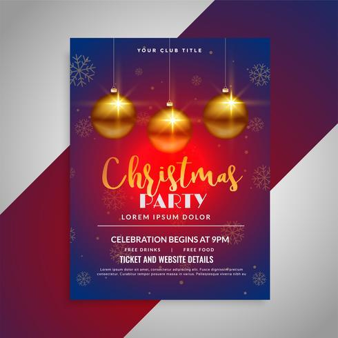 ontwerpsjabloon van het festival van de kerst feest glanzende flyer