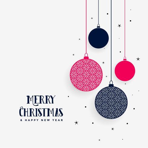 Precioso saludo de feliz navidad con bolas decorativas colgantes.