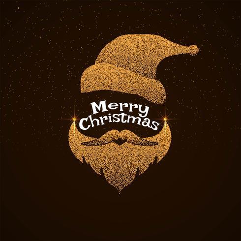 Elegante saludo de feliz navidad con cara de santa punteada