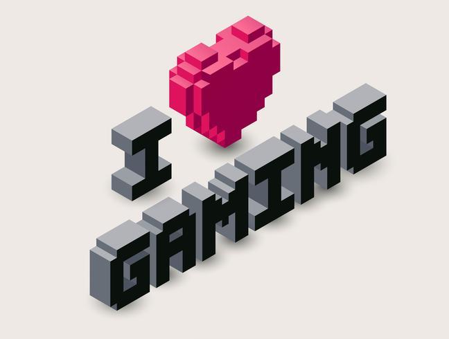 Ícone de pixel de jogo 3D. vetor