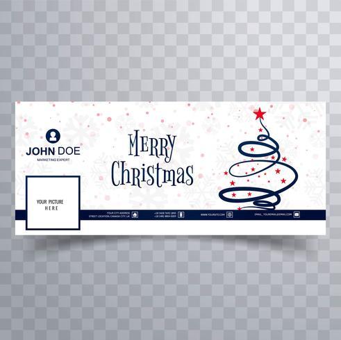 Vector feliz hermoso de la plantilla de la bandera del facebook del árbol de navidad