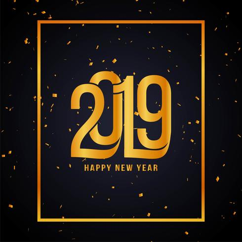 Feliz año nuevo 2019 fondo de confeti dorado