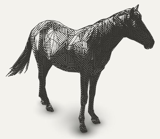 Horse illustration. Polygon shaped line- art.
