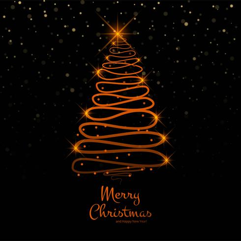Merry christmas tree with card background