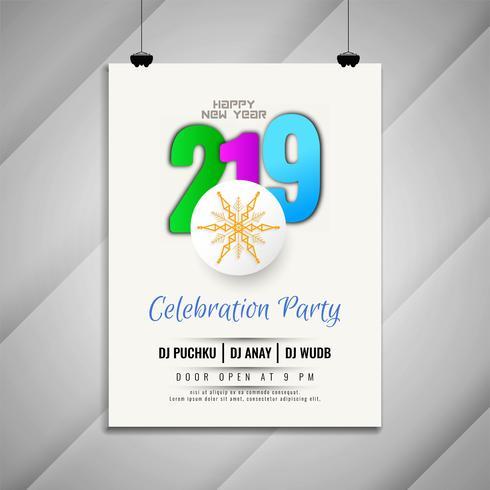 Nyår 2019 fest fest modern flygblad