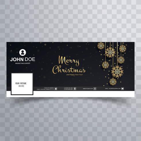 Feliz navidad tarjeta facebook banner plantilla diseño