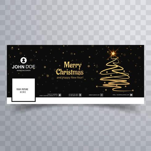 Vackert glatt julgran Facebook banner mall vektor