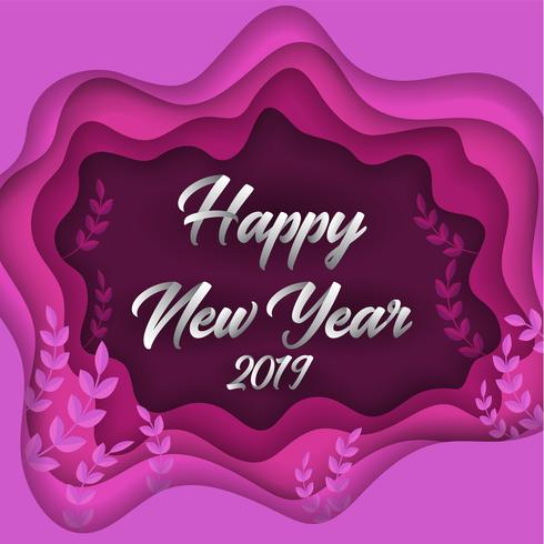 Gelukkig nieuw jaar 2019 kleurrijke papier gesneden wenskaart achtergrond