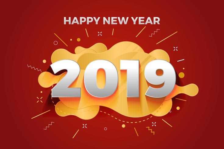 happy new year 2019 abstract paper cut greeting card background