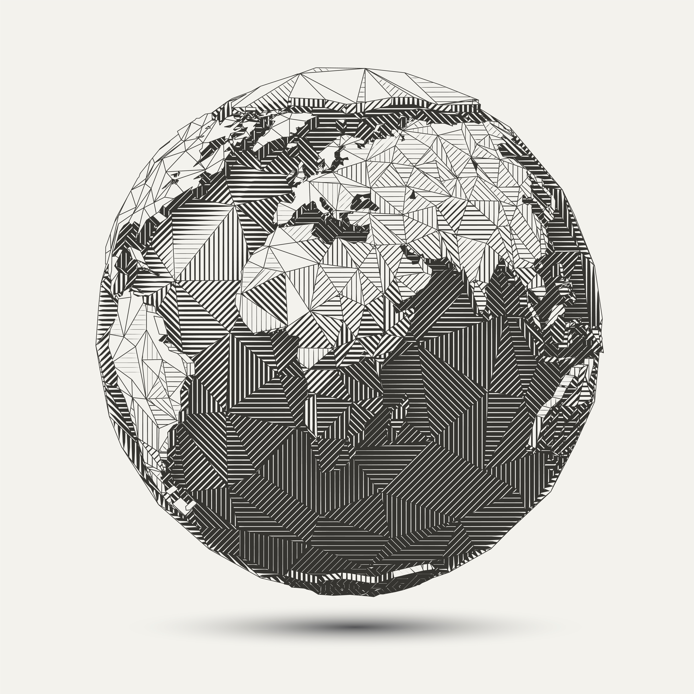 geometric line art earth globe illustration download. Black Bedroom Furniture Sets. Home Design Ideas
