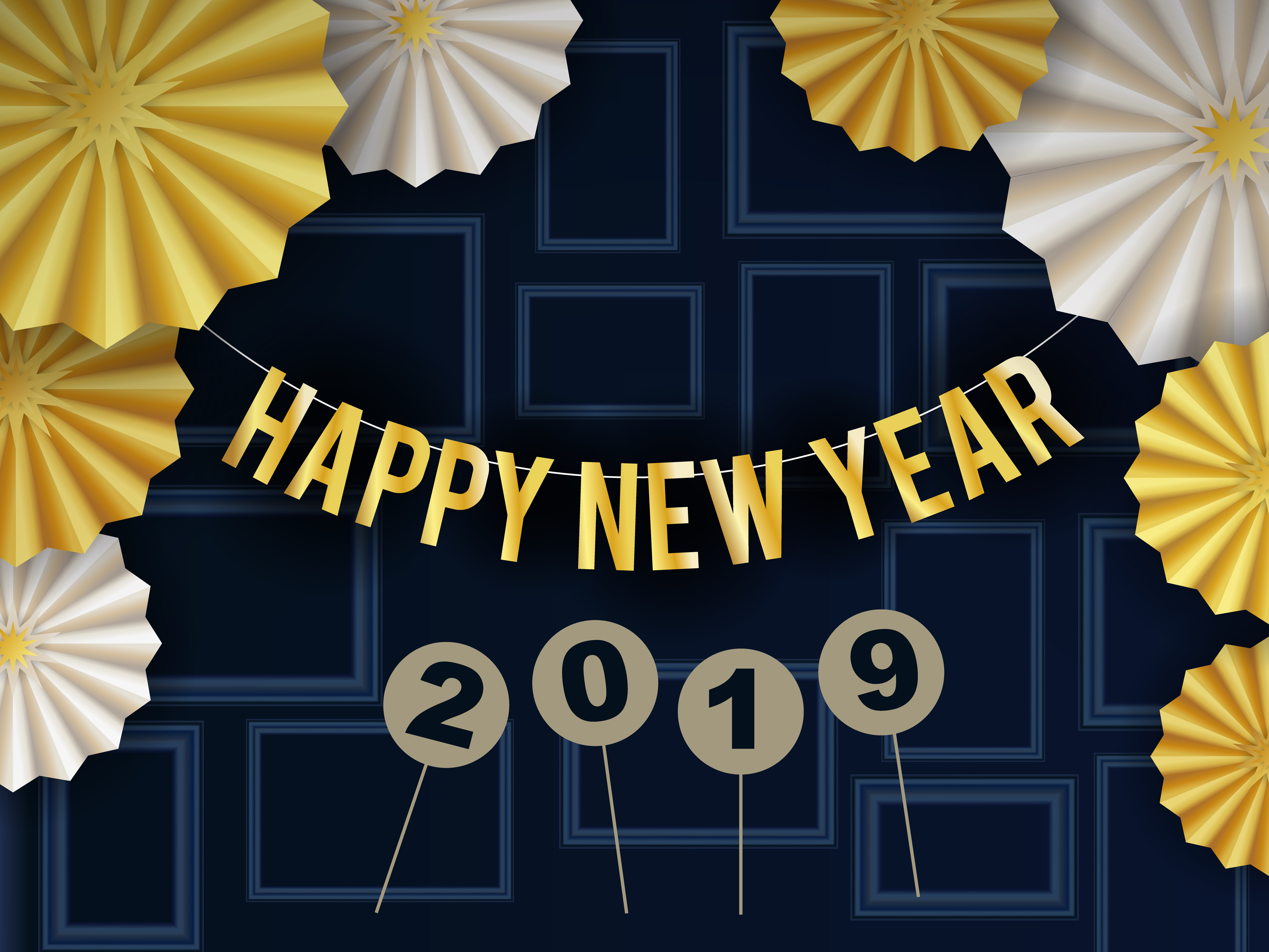 Happy New Year 2019 Background Design With Circle Radial ...