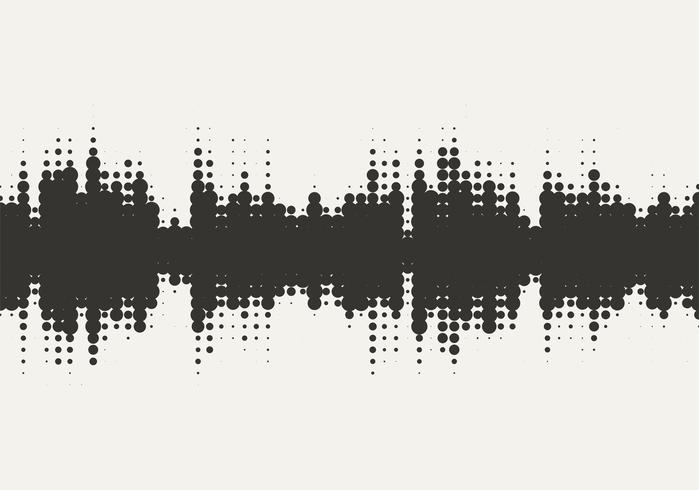 Disegno vettoriale mezzitoni dell'onda sonora.