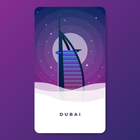 Burj Al Arab Hotell UAE Landmark Vektor Illustration.
