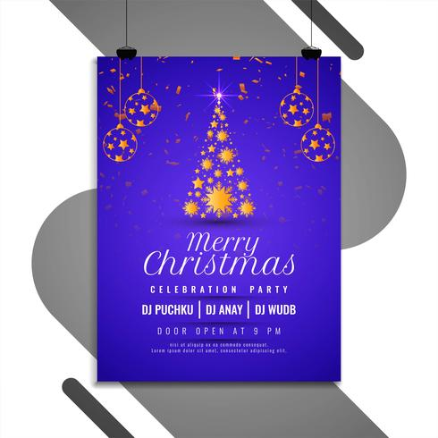 Abstract Merry Christmas party flyer template vector