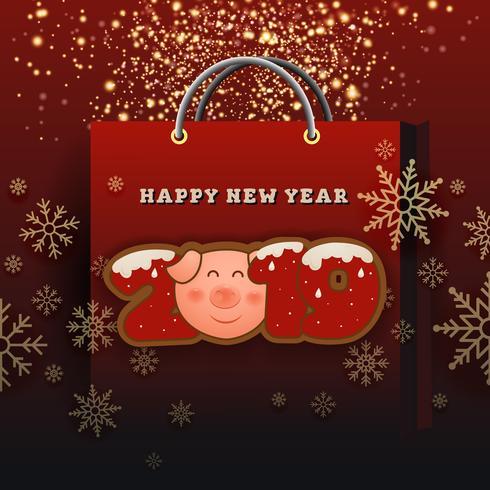Gott nytt år 2019 Celebration Greeting Card Bakgrundsdesign