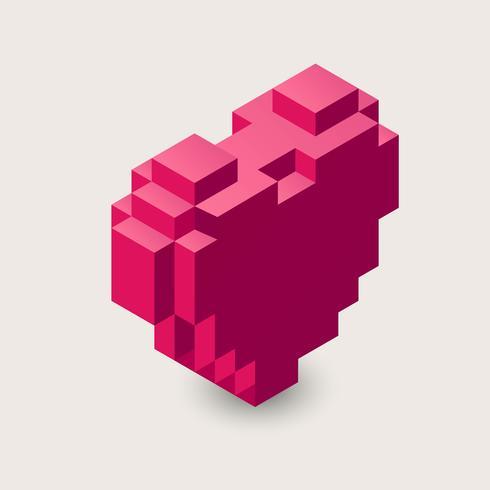 3d pixel hjärta ikon.