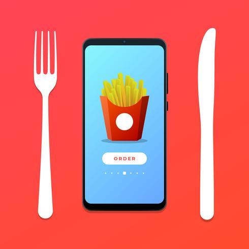 Commander Fast Food en ligne Concept Illustration vectorielle vecteur