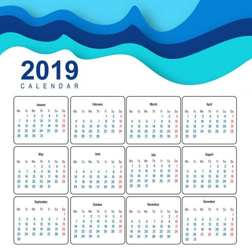 Calendario 2019 plantilla de vector