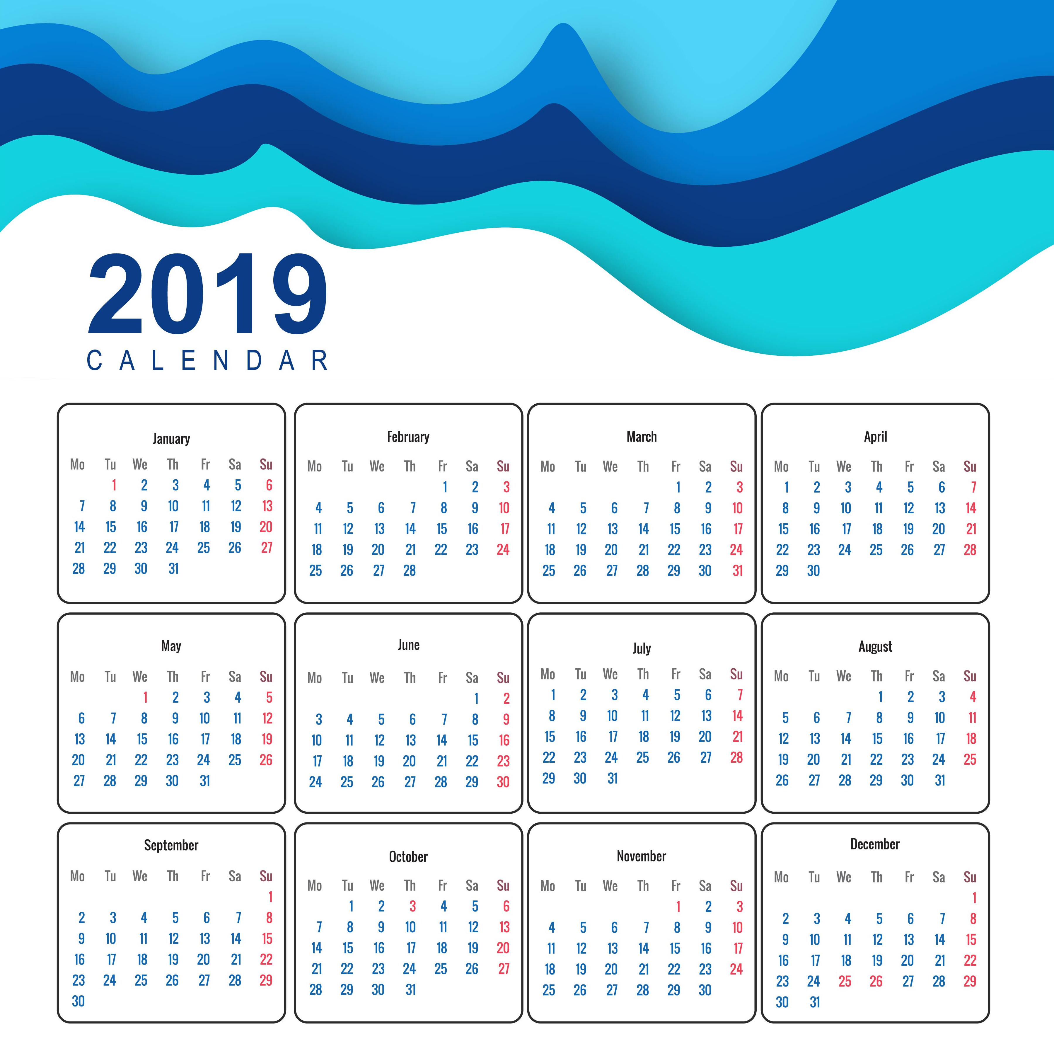 calendar 2019 template design vector