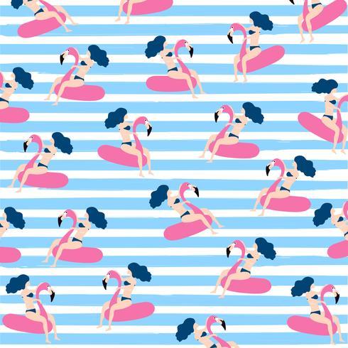 Diseño de patrones sin fisuras de verano con mujer flotando