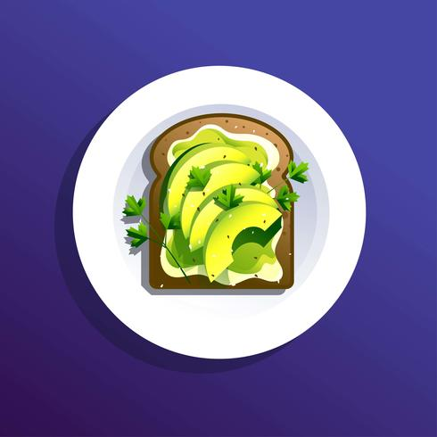 Avokado Toast Recept Vector Illustration