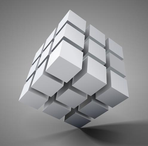 3D cube illustration. vector