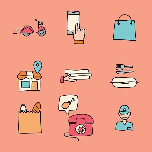 doodled pictogrammen over online eten bestellen