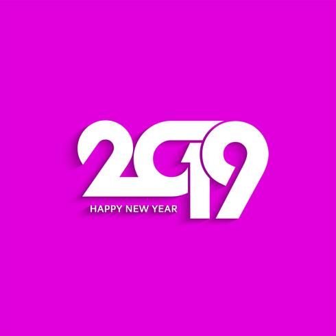 Fondo de diseño de texto decorativo abstracto de año nuevo 2019